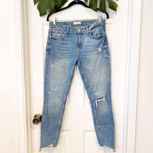 Zara Distressed Raw Chewed Hem Jeans